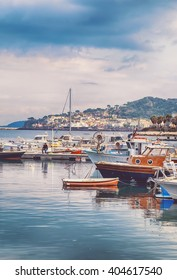 boats at Lacco Ameno harbour ,  Ischia island in Italy