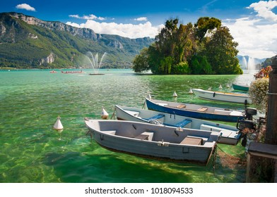 Boats at lake Annecy, French Alps.