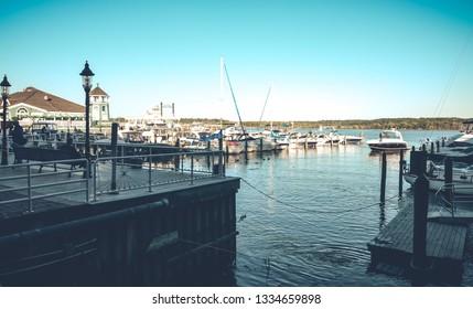 Boats and life in Potomac River, VA USA