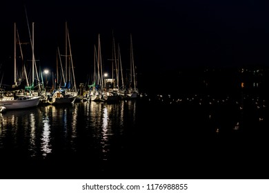 Boats lined up by the pier in White Rock, British Columbia