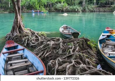 boats in Los Micos, National Park in San Luis Potosi, Mexico