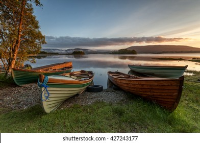 Boats at the Lough Corrib, County Galway, Connemara, Ireland