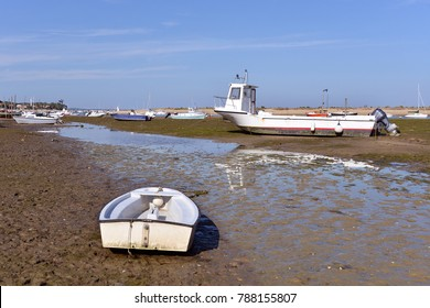 Boats at low tide at Cap-Ferret, ostreicole commune located on shore of Arcachon Bay, in the Gironde department in southwestern France.