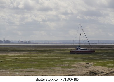 Boats in low tide, Southend-on-Sea, England, United Kingdom