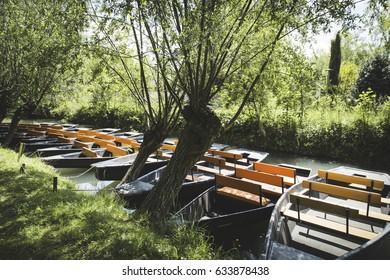 Boats in the Marais Poitevin Charentes Maritimes