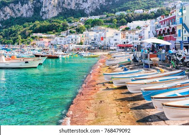 Boats at Marina Grande embankment in Capri Island in Tyrrhenian sea, Italy