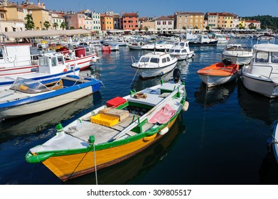 Boats in marina of Rovinj, Istria, Croatia. Typical mediterranean seaside town.