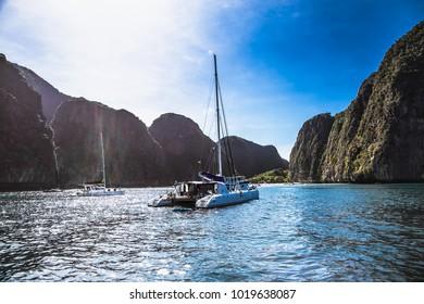 Boats at Maya beach in Ko Phi Phi island on Thailand.