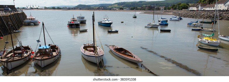 Boats in Minehead harbour Somerset England uk panoramic view in summer with blue sky on a beautiful day