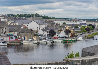 boats moored along the river Shannon, at Athlone, Co. Westmeath, Ireland, taken on July 11th, 2017.
