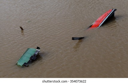 boats moored at the flooded river