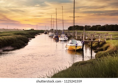 Boats moored at Gibraltar Point, Skegness, Lincolnshire
