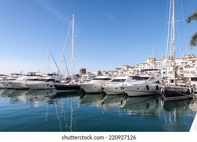 Boats moored in the harbor. Puerto Banus, Malaga, Spain