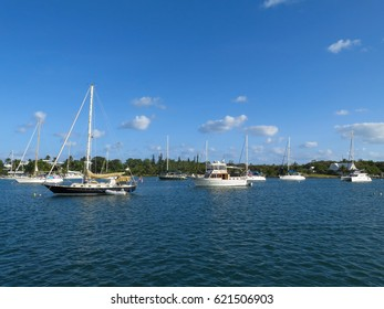 Boats moored inside a marina bay, in Man-o-War Cay, Bahamas.