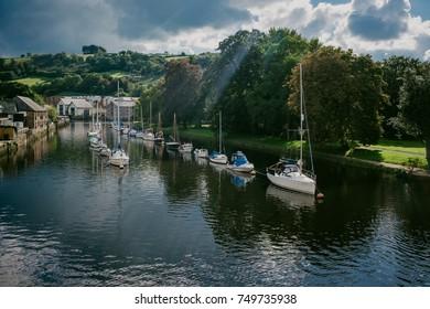 Boats Moored on River Dart at Totnes Devon England United Kingdom UK