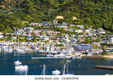 Boats moored in Queen Charlotte Sound, Aerial view of Picton harbour in Cook Strait, Marlborough region, South Island, New Zealand