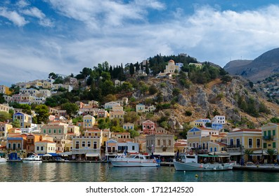 Boats moored in Symi Harbour, Greece