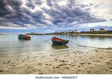 Boats moored in this tranquil bay after a heavy summer storm along the West Coast of South Africa