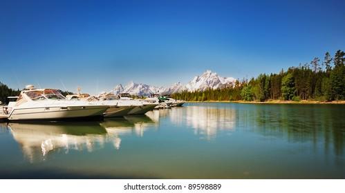 The Boats near at Jackson Lake resort