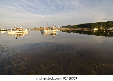 boats in the ocean bay in Maine, Usa