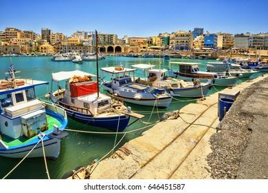 Boats in the old port of Heraklion. Crete, Greece. Fishing schooners.