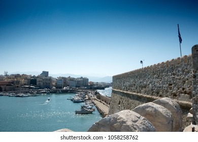 Boats in old port near the Koules fortress, Heraklion, Greece