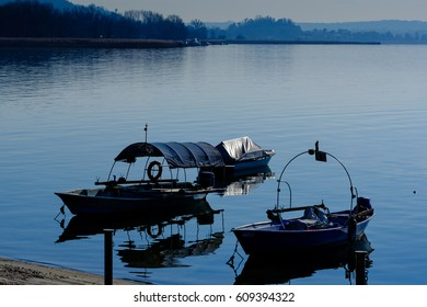 Boats on the Angera side of Lake Maggiore, Italy