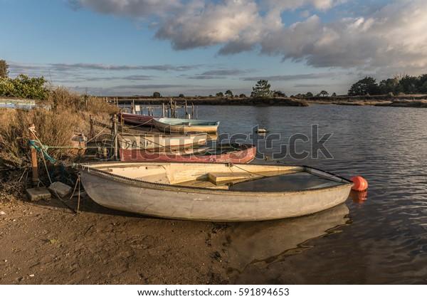 Boats on Auzance river (Brem-sur-mer, France)