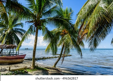 Boats on beach at Caribbean town of Livingston, Guatemala