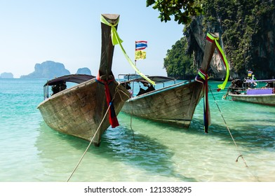 Boats on a beach in Krabi, Thailand. South East Asia.