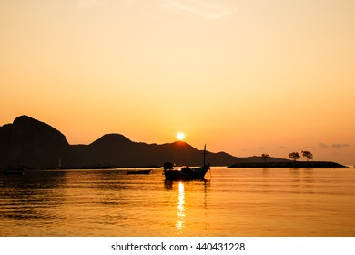Boats on the beach with the sunset.Beautiful natural seascape