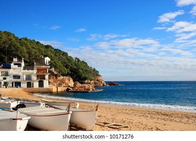 Boats on the beach at Tamariu (Costa Brava, Catalonia, Spain)