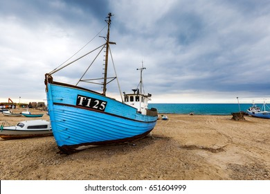 Boats on the beach of vorupoer in the national park Thy