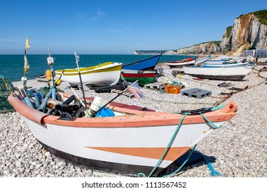 Boats on the beach of Yport, France