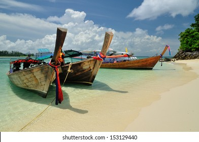 Boats on beautiful beach, Thailand