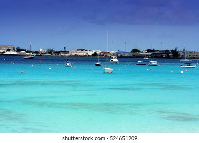 Boats on beautiful turquoise sea in Barbados