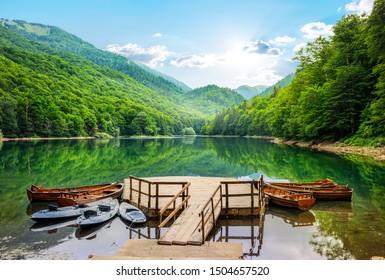 Boats on Biogradska Lake in National Park Biogradska Gora. Montenegro - Shutterstock ID 1504657520
