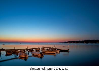 Boats on the coast of Porec in Croatia