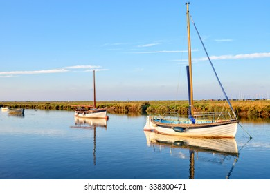 Boats on the creek at Blakeney on the north coast of Norfolk