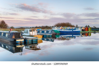 Boats on the Forth and Clyde Canal at Falkirk in Scotland