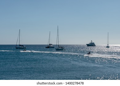 Boats on Frigate Bay, St. Kitts in the Caribbean