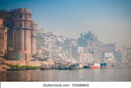 Boats on Ganges river in Varanasi
