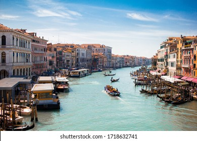 Boats on the grand canal in venice, italy