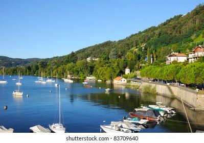 boats on Lago(lake) Maggiore, Italy