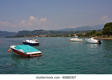 Boats on the lake Garda, Italy