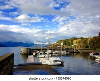 Boats on Lake Maggiore on a clear autumn day