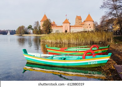 Boats on lake near Trakai island castle.