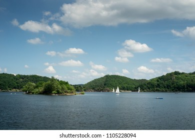 Boats on the lake in Rurberg, Simmerath, North Rhine Westphalia, Eifel National Park, Germany