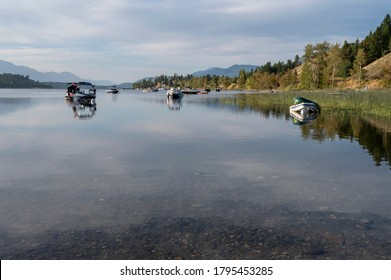 Boats on Lake Windermere on the Columbia River at Invermere, British Columbia, Canada