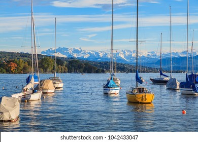 Boats on Lake Zurich in Switzerland, summits of the Alps in the background - view from the city of Zurich at the middle of autumn.